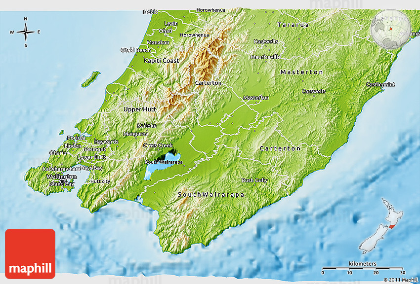 Map Of Wellington New Zealand.Physical 3d Map Of Wellington