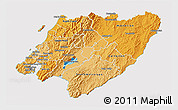 Political Shades 3D Map of Wellington, cropped outside