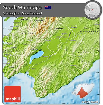 Wairarapa New Zealand Map.Free Physical Map Of South Wairarapa