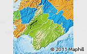 Physical Map of South Wairarapa, political outside