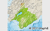 Physical Map of South Wairarapa, shaded relief outside