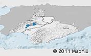 Gray Panoramic Map of South Wairarapa, single color outside