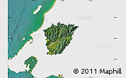 Satellite Map of Upper Hutt, single color outside