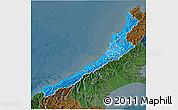 Political Shades 3D Map of West Coast, darken