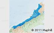 Political Shades 3D Map of West Coast, lighten