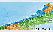 Political Shades Panoramic Map of West Coast