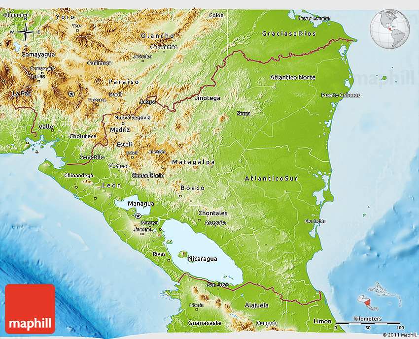Physical D Map Of Nicaragua - Map of nicaragua