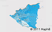 Political Shades 3D Map of Nicaragua, cropped outside