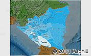 Political Shades 3D Map of Nicaragua, darken