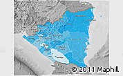 Political Shades 3D Map of Nicaragua, desaturated