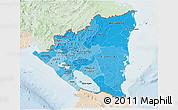 Political Shades 3D Map of Nicaragua, lighten