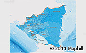 Political Shades 3D Map of Nicaragua, single color outside