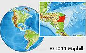 Physical Location Map of Atlantico Norte