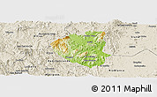 Physical Panoramic Map of Waslala, shaded relief outside