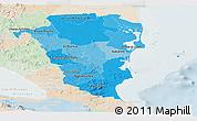 Political Shades Panoramic Map of Atlantico Sur, lighten