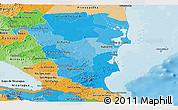 Political Shades Panoramic Map of Atlantico Sur