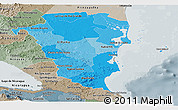 Political Shades Panoramic Map of Atlantico Sur, semi-desaturated