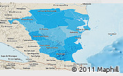 Political Shades Panoramic Map of Atlantico Sur, shaded relief outside