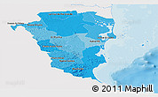 Political Shades Panoramic Map of Atlantico Sur, single color outside