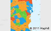 Political Simple Map of Atlantico Sur