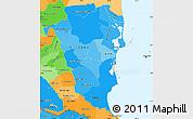 Political Shades Simple Map of Atlantico Sur