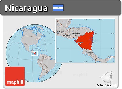 Free Gray Location Map of Nicaragua