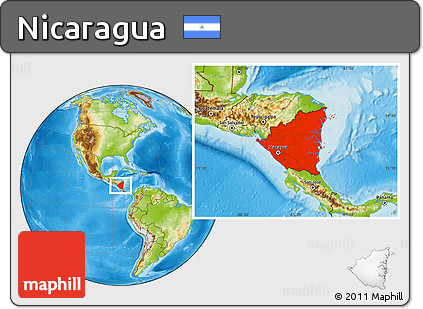 Free Physical Location Map of Nicaragua