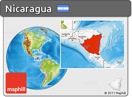 Free Physical Location Map of Nicaragua highlighted continent