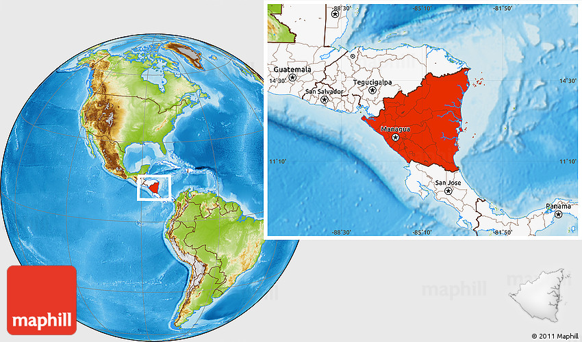 Physical Location Map of Nicaragua highlighted continent