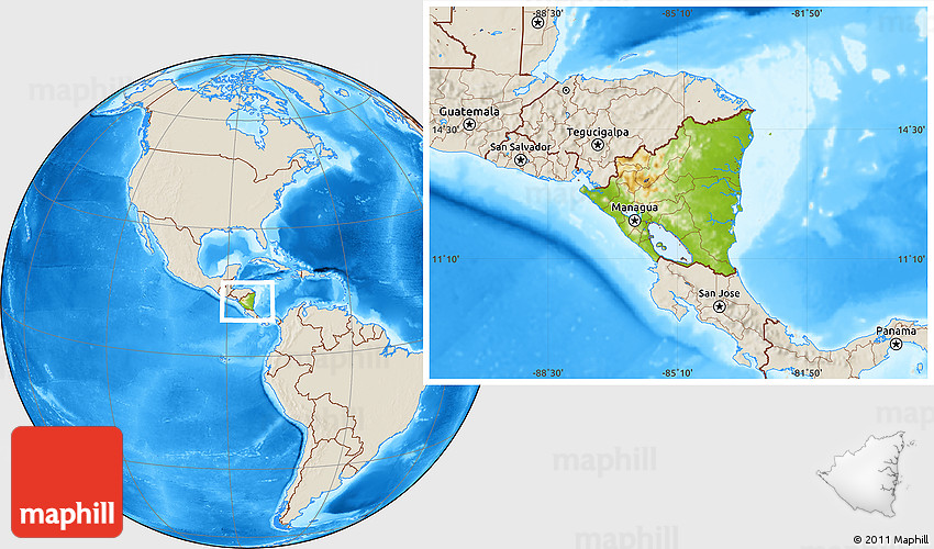 Physical Location Map of Nicaragua shaded relief outside