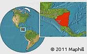 Satellite Location Map of Nicaragua