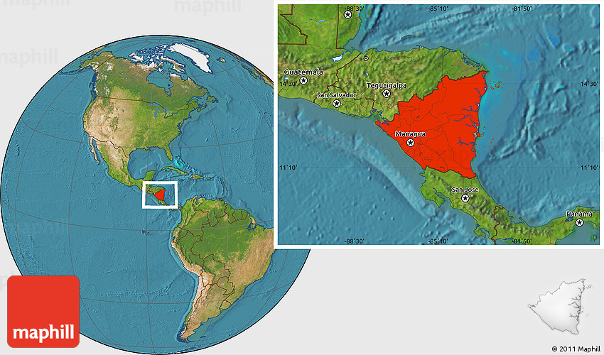Satellite Location Map Of Nicaragua - Nicaragua location on world map