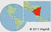 Savanna Style Location Map of Nicaragua