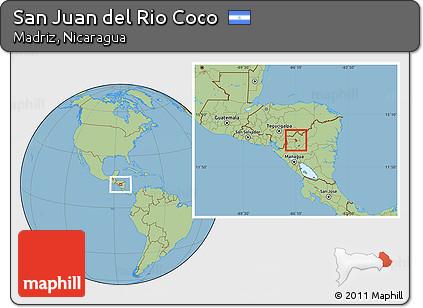Free Savanna Style Location Map of San Juan Del Rio Coco