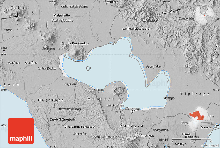Gray Map of Lago De Managua