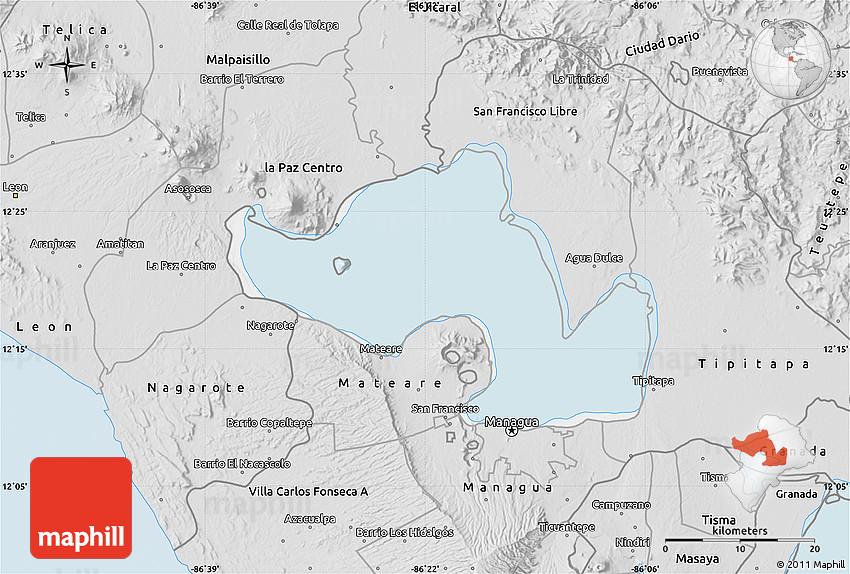 Silver Style Map of Lago De Managua