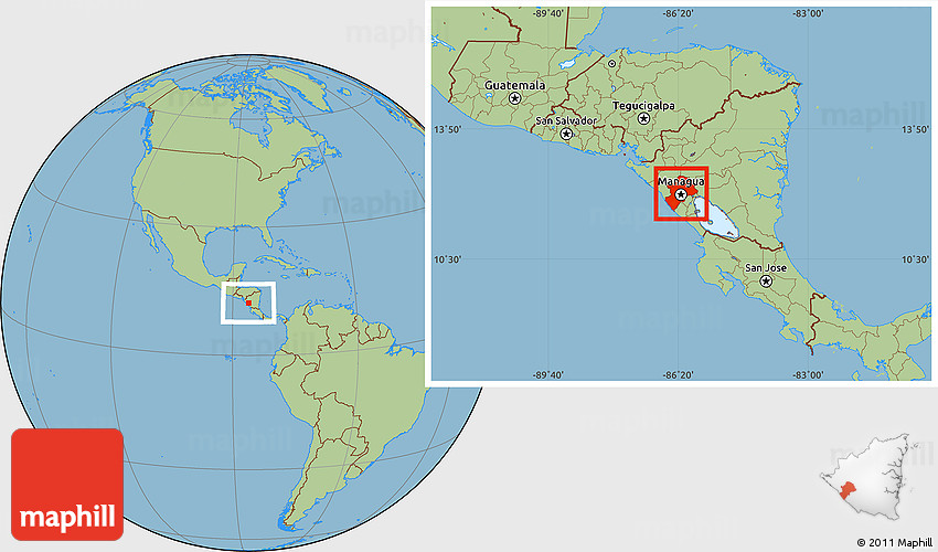 Savanna Style Location Map of Managua