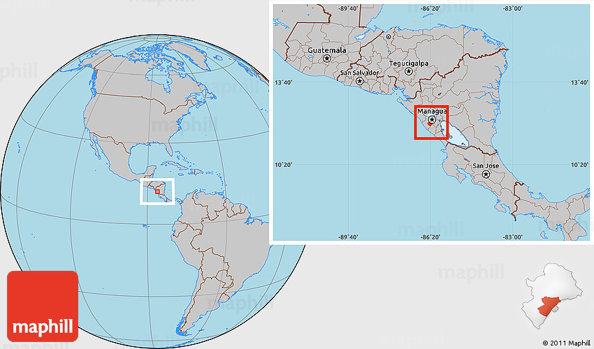 Gray Location Map of Managua