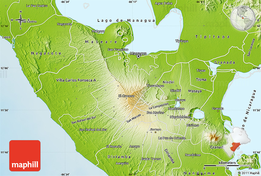 Physical Map of Managua