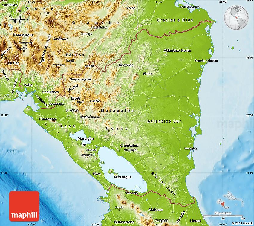 Physical Map of Nicaragua
