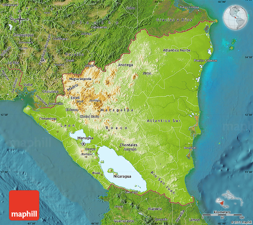 Physical Map of Nicaragua satellite outside