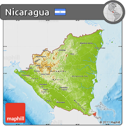 Free Physical Map of Nicaragua single color outside