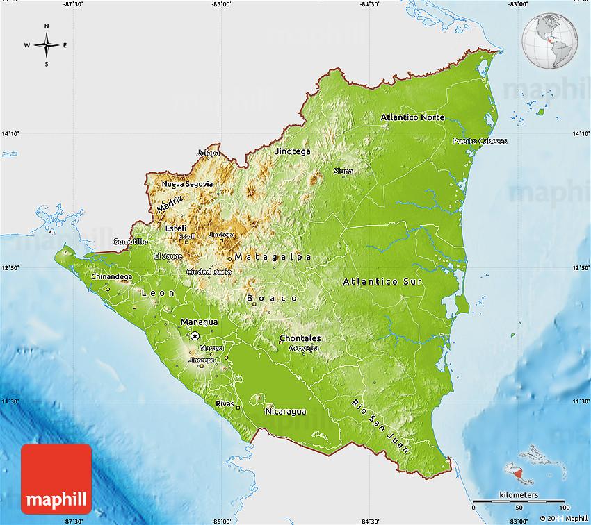 Physical Map of Nicaragua single color outside