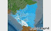 Political Shades Map of Nicaragua, darken