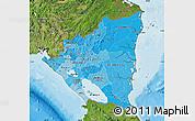 Political Shades Map of Nicaragua, satellite outside, bathymetry sea