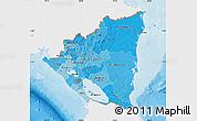 Political Shades Map of Nicaragua, single color outside