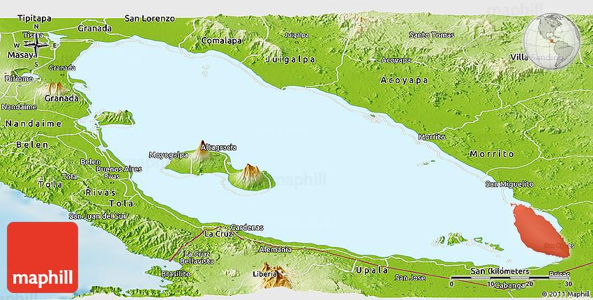 Physical Panoramic Map of Lago De Nicaragua