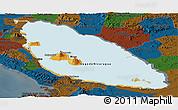 Political Panoramic Map of Nicaragua, darken