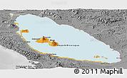 Political Panoramic Map of Nicaragua, desaturated