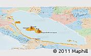 Political Panoramic Map of Nicaragua, lighten
